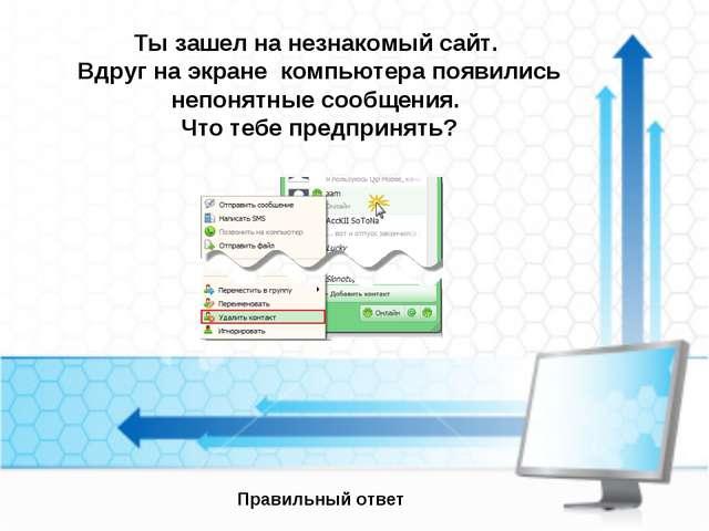 Ты зашел на незнакомый сайт. Вдруг на экране компьютера появились непонятные...