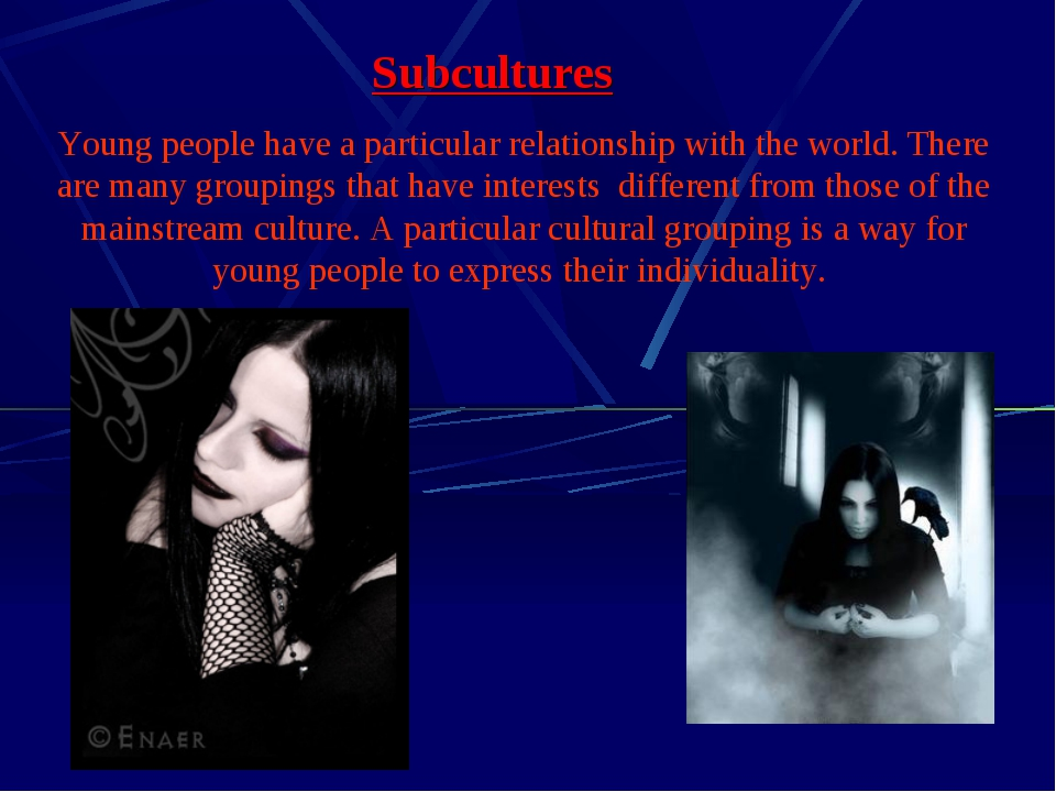 Subcultures Young people have a particular relationship with the world. There...