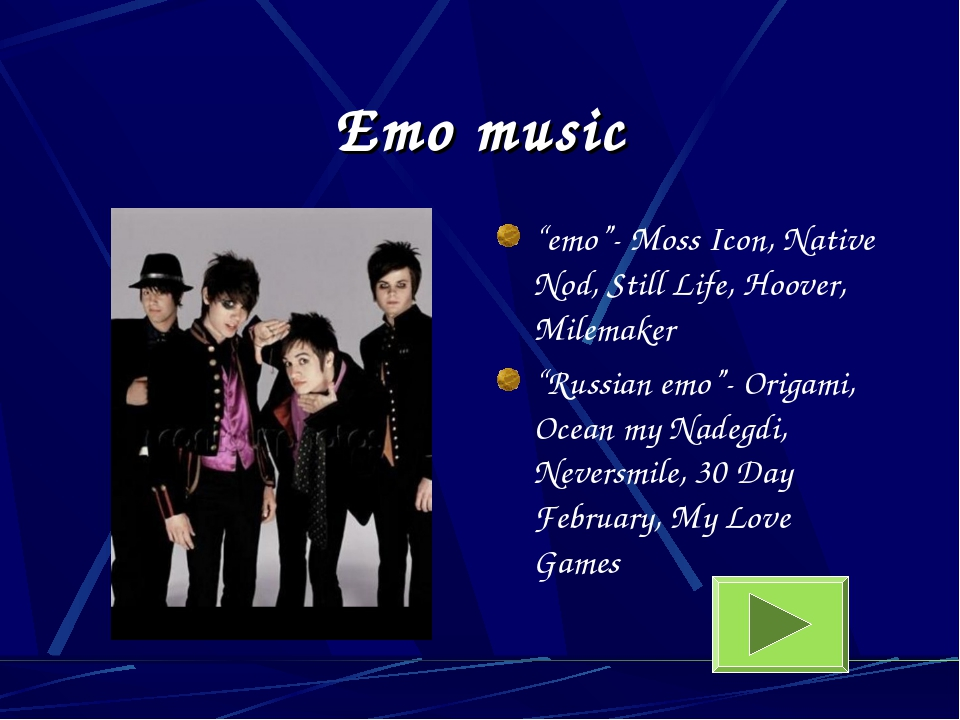 """Emo music """"emo""""- Moss Icon, Native Nod, Still Life, Hoover, Milemaker """"Russia..."""