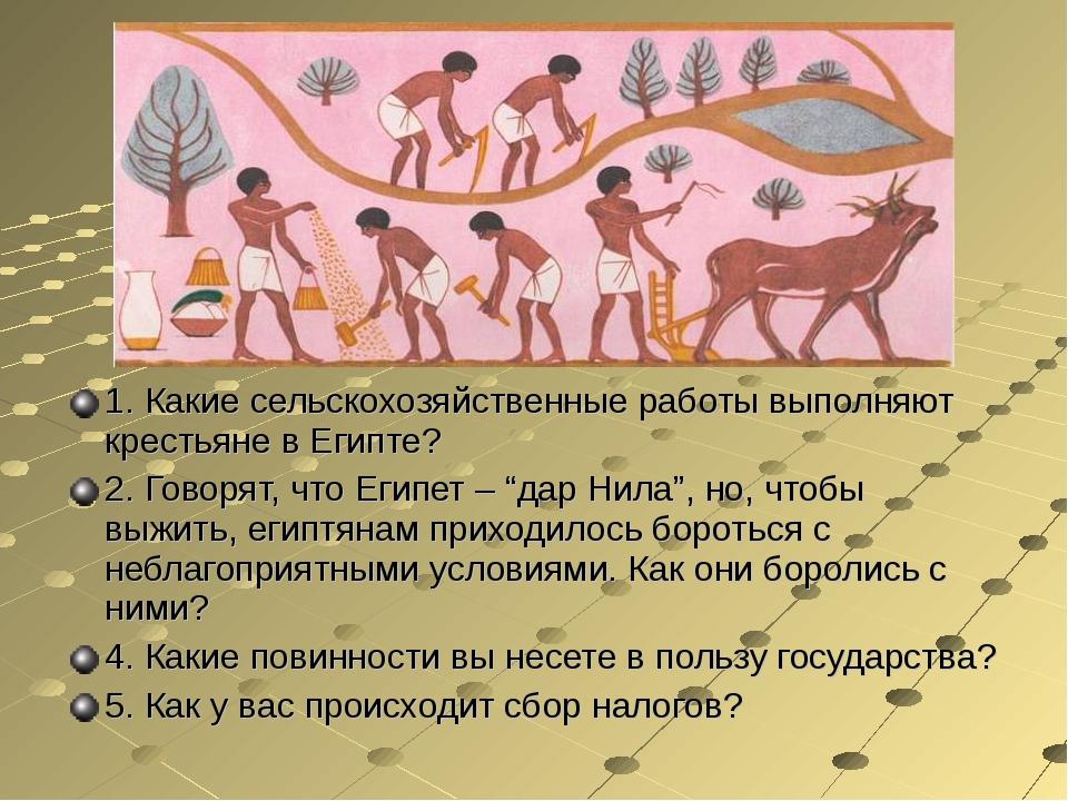 1. Какие сельскохозяйственные работы выполняют крестьяне в Египте? 2. Говорят...