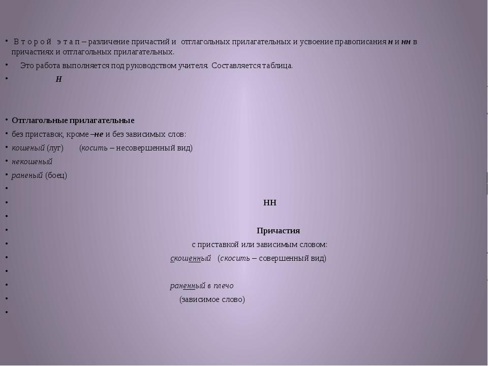 В т о р о й э т а п – различение причастий и отглагольных прилагательных и у...