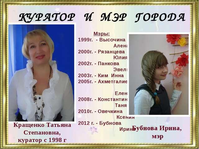 Кращенко Татьяна Степановна, куратор с 1998 г Почетная горожанка ШАГа КУРАТО...