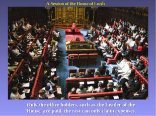 A Session of the House of Lords Only the office holders, such as the Leader o