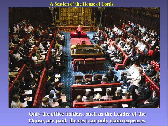 A Session of the House of Lords Only the office holders, such as the Leader o...