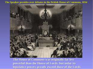 The Speaker presides over debates in the British House of Commons, 1834 The H