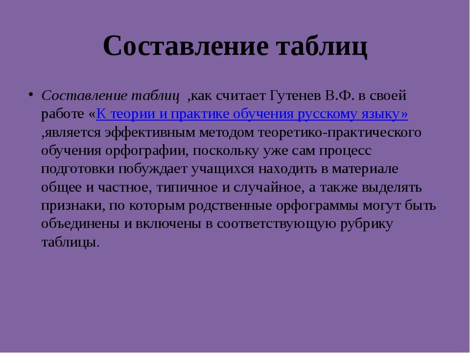 Составление таблиц Составление таблиц ,как считает Гутенев В.Ф. в своей работ...