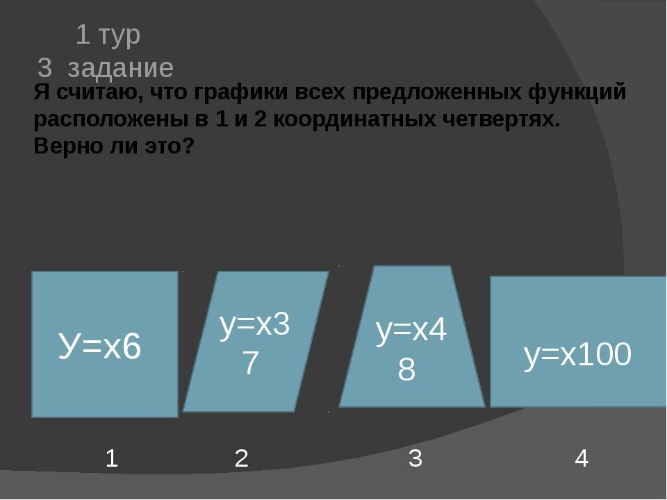Я считаю, что графики всех предложенных функций расположены в 1 и 2 координат...