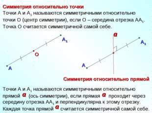 Симметрия относительно точки Симметрия относительно прямой А О Точки А и А1 н