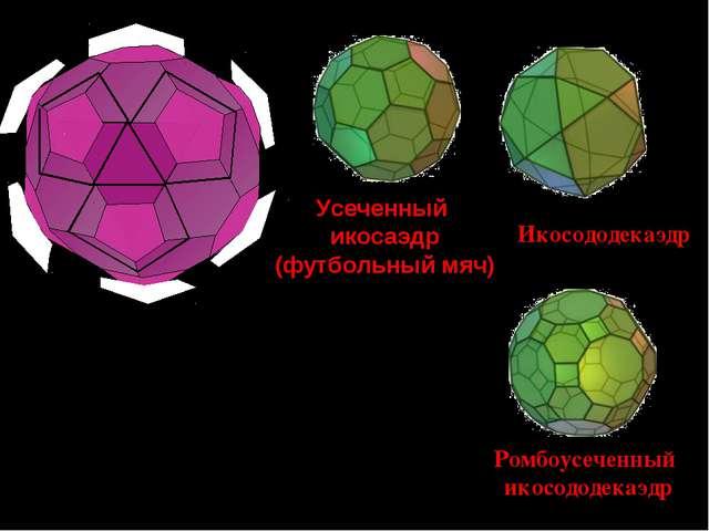 Срезав вершины икосаэдра, получим новые грани пятиугольники, а грани икосаэдр...
