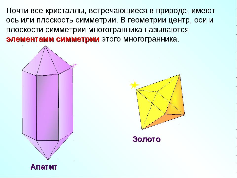 Почти все кристаллы, встречающиеся в природе, имеют ось или плоскость симметр...