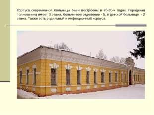 Корпуса современной больницы были построены в 70-80-х годах. Городская поликл