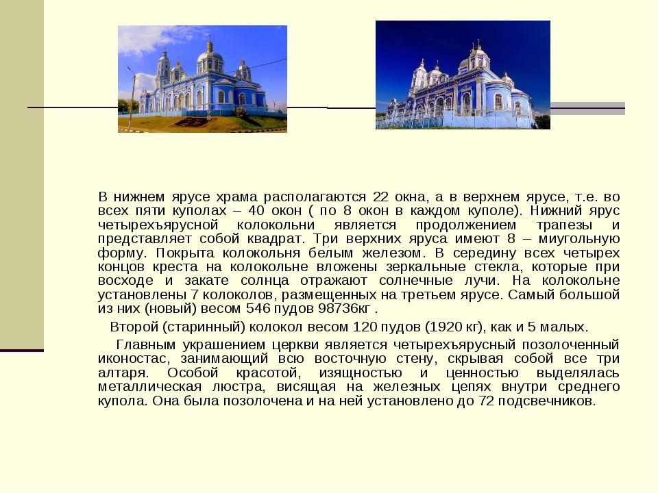 В нижнем ярусе храма располагаются 22 окна, а в верхнем ярусе, т.е. во всех...