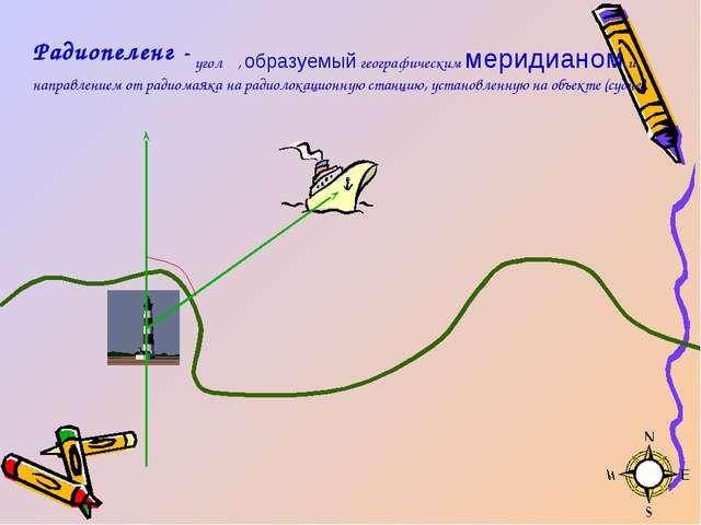 угол α, образуемый географическим меридианом и направлением от радиомаяка на...
