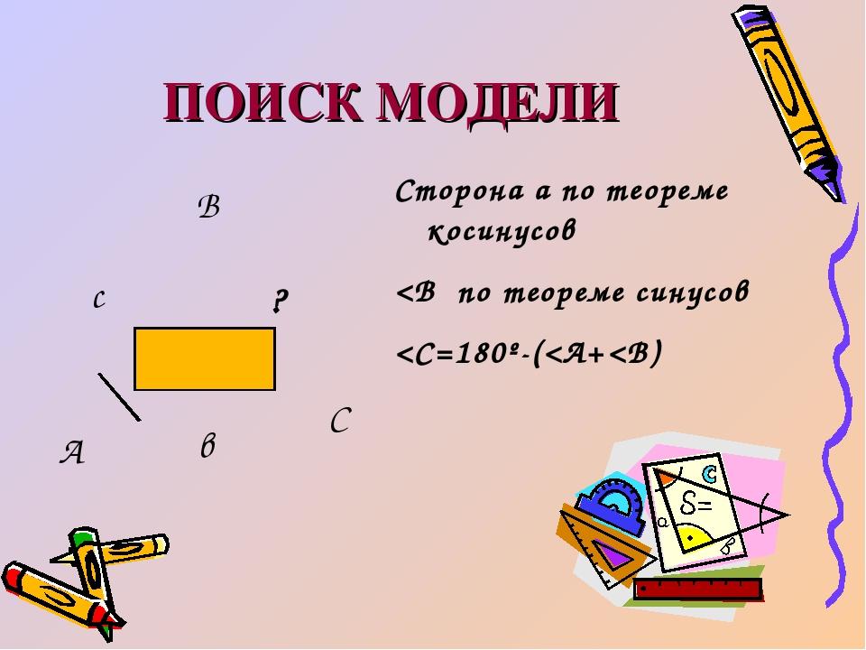 ПОИСК МОДЕЛИ А В С с в ? Сторона а по теореме косинусов