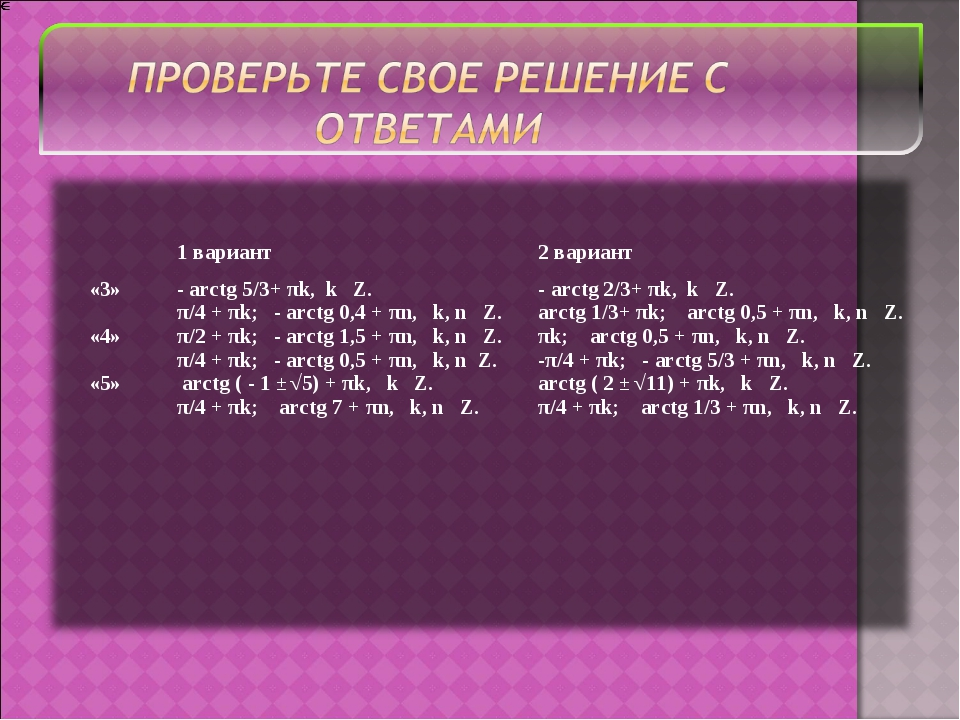 1 вариант2 вариант «3» «4» «5»- arctg 5/3+ πk, k Z. π/4 + πk; - arctg 0,4...