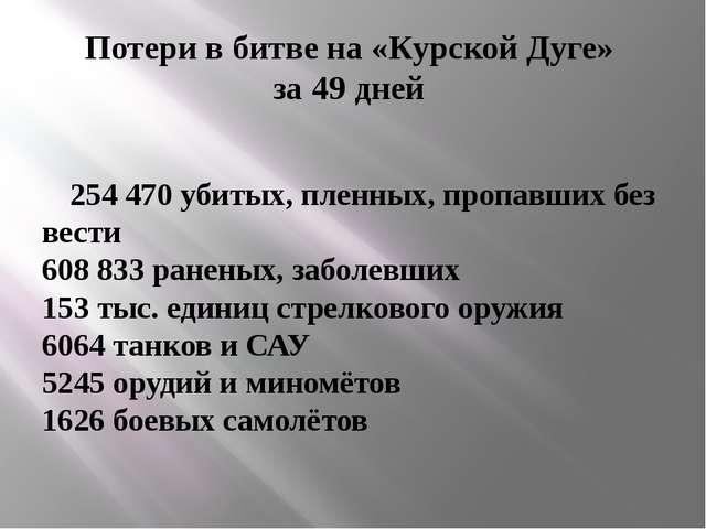 Потери в битве на «Курской Дуге» за 49 дней 254470 убитых, пленных, пропавши...