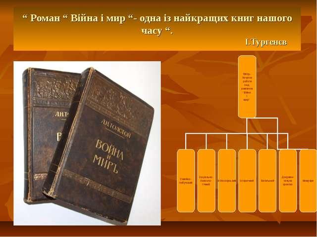 """"""" Роман """" Війна і мир """"- одна із найкращих книг нашого часу """". І.Тургенєв"""