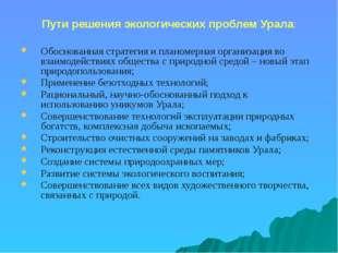 Пути решения экологических проблем Урала: Обоснованная стратегия и планомерна