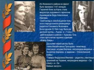 Е.П.Вологодская Н.М. Прохорова Т.Ф. Иевлева Из Инзенского района на фронт был