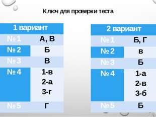 Ключ для проверки теста 1 вариант № 1 А, В № 2 Б № 3 В № 4 1-в 2-а 3-г № 5 Г
