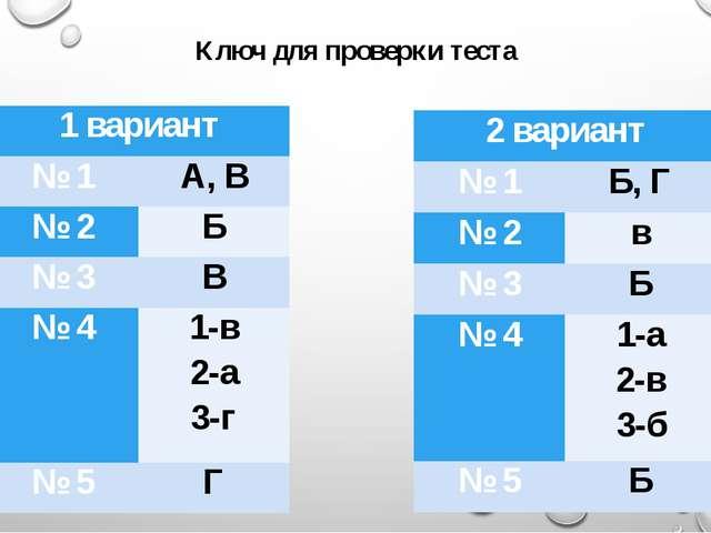 Ключ для проверки теста 1 вариант № 1 А, В № 2 Б № 3 В № 4 1-в 2-а 3-г № 5 Г...