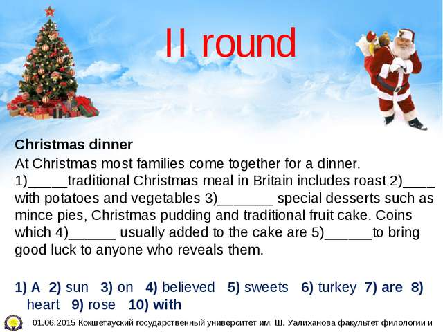II round Christmas dinner At Christmas most families come together for a dinn...