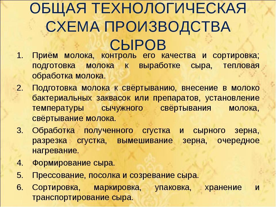 ОБЩАЯ ТЕХНОЛОГИЧЕСКАЯ СХЕМА ПРОИЗВОДСТВА СЫРОВ Приём молока, контроль его кач...