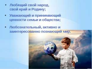 Любящий свой народ, свой край и Родину; Уважающий и принимающий ценности семь