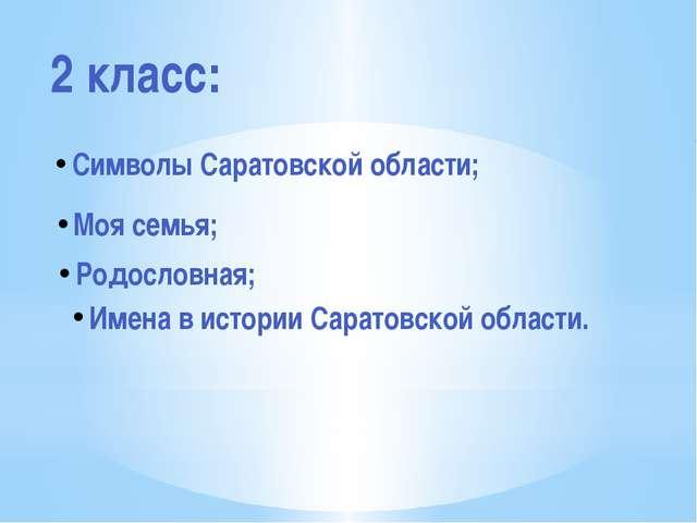 2 класс: Символы Саратовской области; Моя семья; Родословная; Имена в истории...