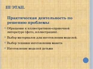 III ЭТАП. Обращение к иллюстративно-справочной литературе (фото, иллюстрации)