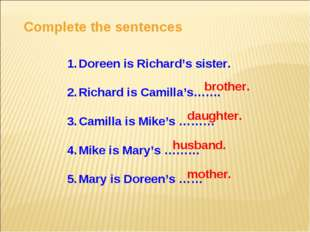 Complete the sentences Doreen is Richard's sister. Richard is Camilla's……. Ca