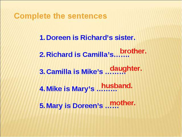 Complete the sentences Doreen is Richard's sister. Richard is Camilla's……. Ca...