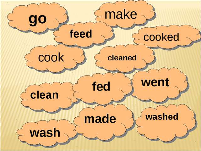 go make cooked cleaned cook feed went clean fed washed wash made