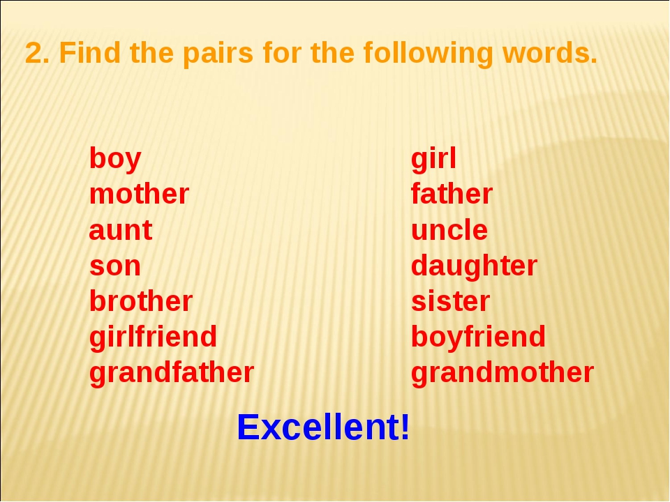 2. Find the pairs for the following words. boy mother aunt son brother girlfr...