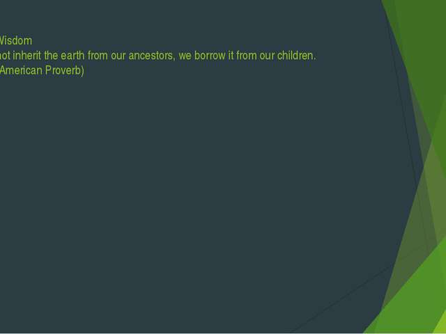 Green Wisdom We do not inherit the earth from our ancestors, we borrow it fro...