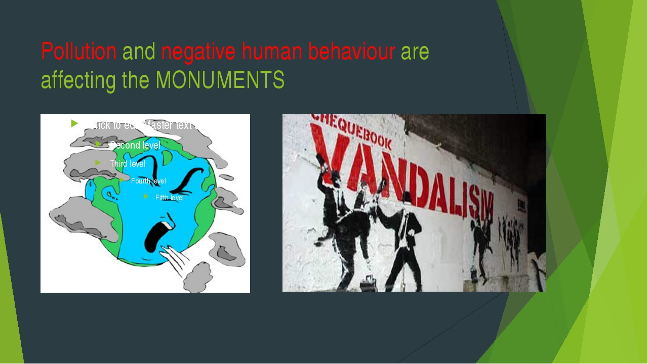 Pollution and negative human behaviour are affecting the MONUMENTS
