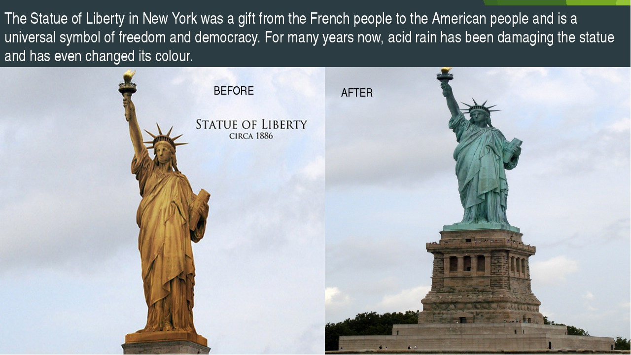 BEFORE AFTER The Statue of Liberty in New York was a gift from the French peo...