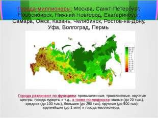 Города-миллионеры: Москва, Санкт-Петербург, Новосибирск, Нижний Новгород, Ек