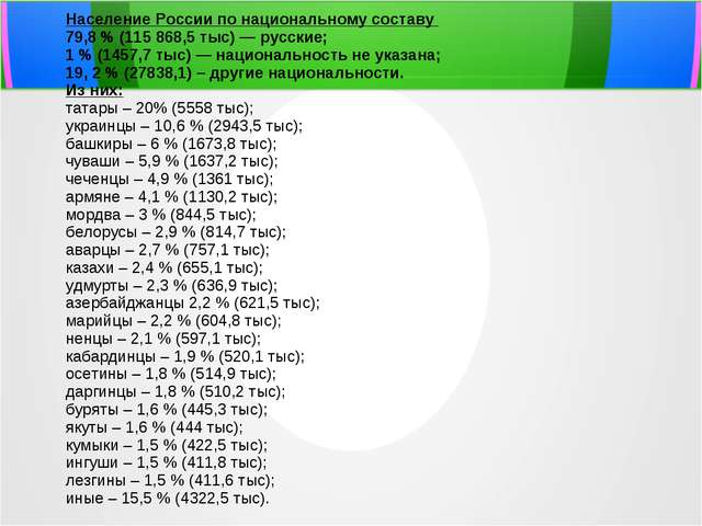 Презентация на тему Народы России по предмету окружающий мир  Население России по национальному составу 79 8 % 115 868 5 тыс