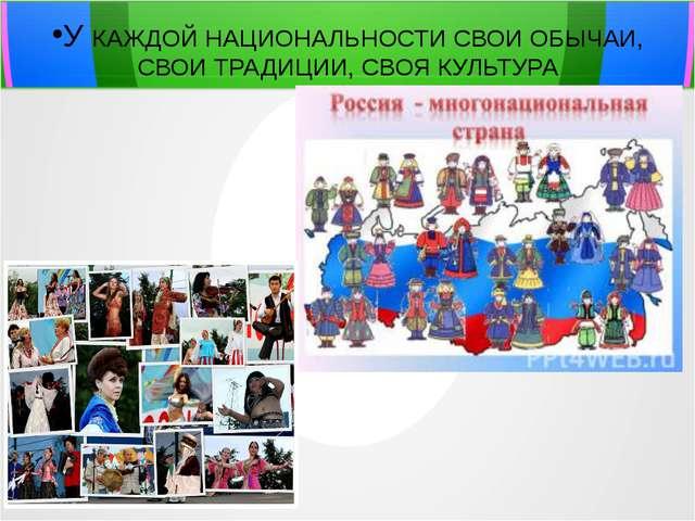 Презентация на тему Народы России по предмету окружающий мир  У КАЖДОЙ НАЦИОНАЛЬНОСТИ СВОИ ОБЫЧАИ СВОИ ТРАДИЦИИ СВОЯ КУЛЬТУРА