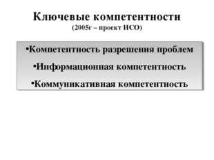 Ключевые компетентности (2005г – проект ИСО) Компетентность разрешения пробле