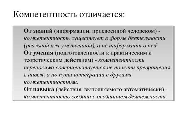 От знаний (информации, присвоенной человеком) - компетентность существует в ф...