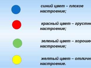 синий цвет – плохое настроение; красный цвет – грустное настроение; зеленый