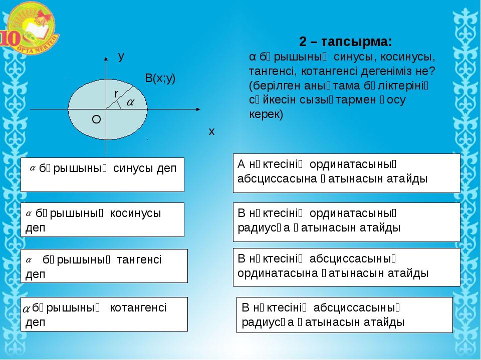 2 – тапсырма: α бұрышының синусы, косинусы, тангенсі, котангенсі дегеніміз н...