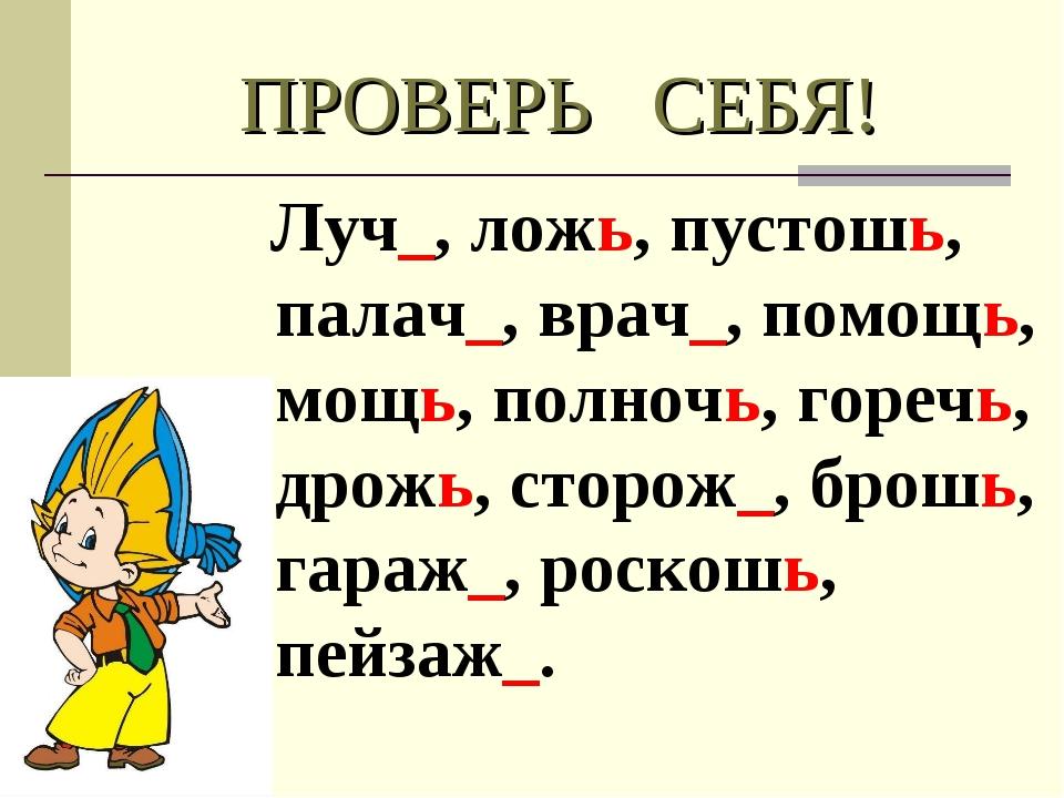 ПРОВЕРЬ СЕБЯ! Луч_, ложь, пустошь, палач_, врач_, помощь, мощь, полночь, горе...