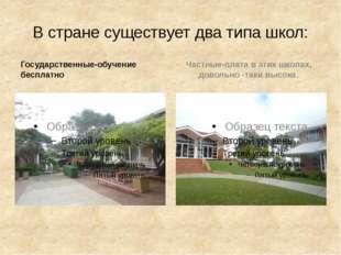 В стране существует два типа школ: Государственные-обучение бесплатно Частные