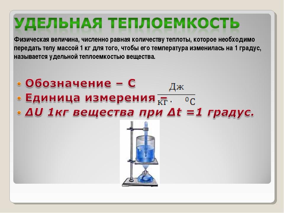 Физическая величина, численно равная количеству теплоты, которое необходимо п...