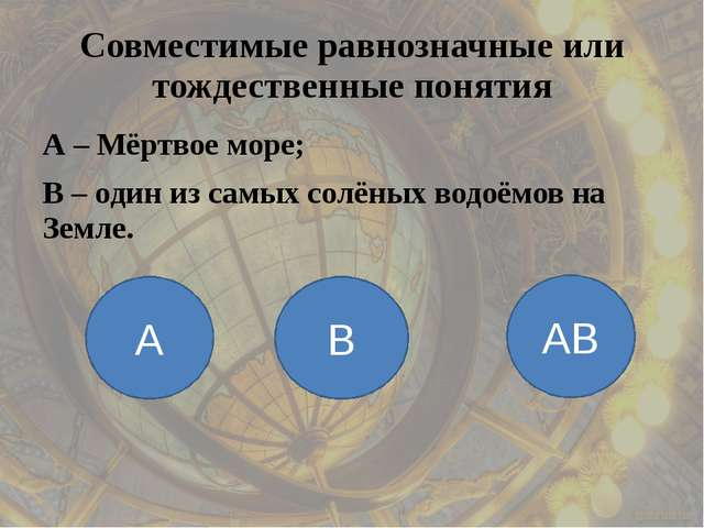 Совместимые равнозначные или тождественные понятия А – Мёртвое море; В – один...