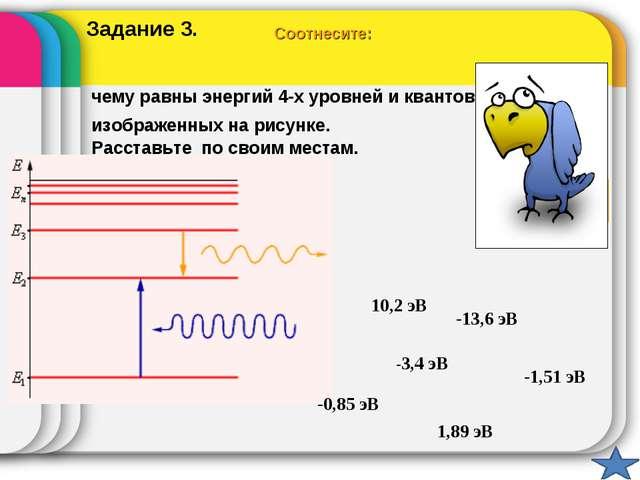 Соотнесите: чему равны энергий 4-х уровней и квантов, изображенных на рисунке...