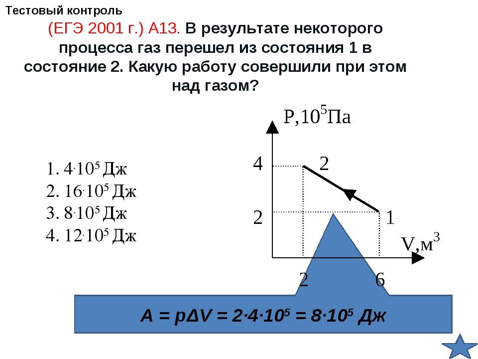 A = pΔV = 2∙4∙105 = 8∙105 Дж (ЕГЭ 2001 г.) А13. В результате некоторого проце...